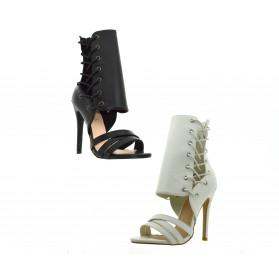 Scarpe aperte donna estive sandali alti con tacco a splillo decoltè aperta lacci