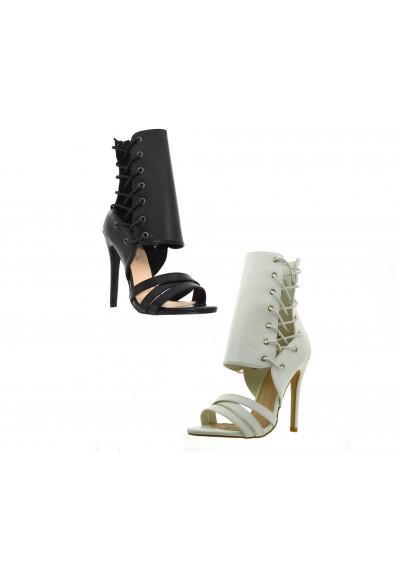 0c041e01b9be Scarpe aperte donna estive sandali alti con tacco a splillo decoltè aperta  lacci