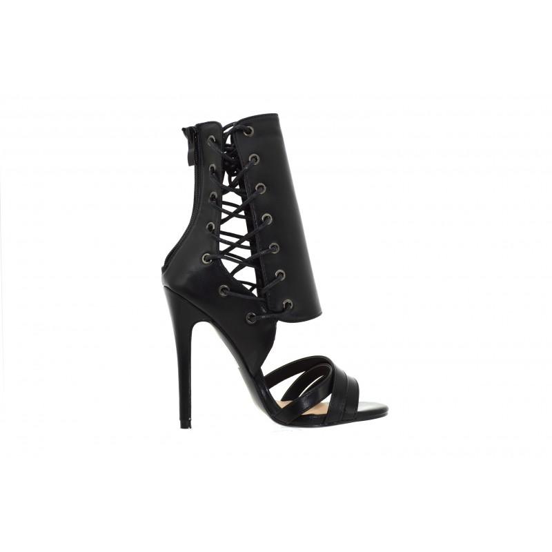 2b70b19768d0 ... Scarpe aperte donna estive sandali alti con tacco a splillo decoltè  aperta lacci ...