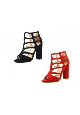 Sandali donna scamosciati tacco alto comodo scarpe aperte tronchetti spuntati
