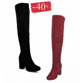 Stivale donna alto nero scamosciato a punta stivali wine alti sopra il ginocchio