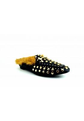 Scarpe donna mocassino ciabattina eco pelliccia sabot borchie ciabatte con pelo