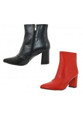 Mezzo stivale scarpe donna con tacco largo e zip tronchetto stivaletto