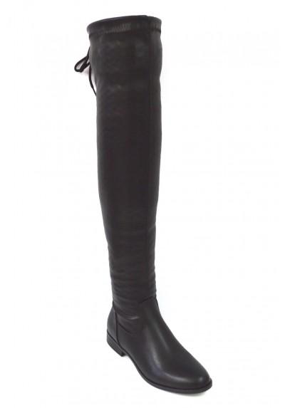 Stivali neri donna alti sopra il ginocchio stivale eco pelle tacco basso lacci