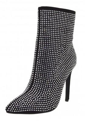 tronchetti a punta scarpe donna stivali scamosciati tacco a spillo e strass