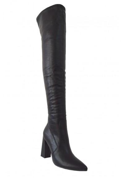 Stivali altissimi donna a punta sopra il ginocchio stivaletti alti neri tacco