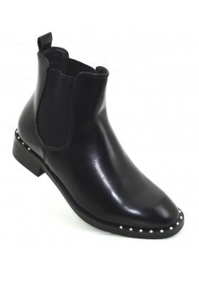Tronchetti donna neri con borchie scarpe donna stivali stivaletti con elastici