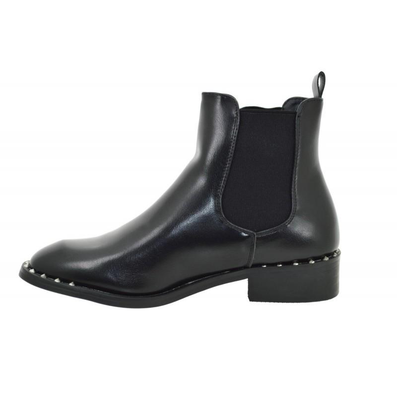 05e607ea54a2fe ... Tronchetti donna neri con borchie scarpe donna stivali stivaletti con  elastici ...