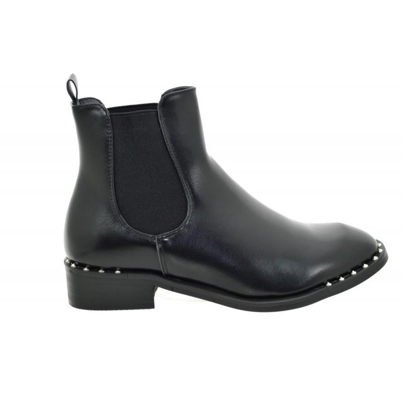 9a7e044fc57564 ... Tronchetti donna neri con borchie scarpe donna stivali stivaletti con  elastici