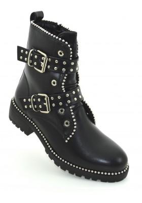 Tronchetti donna neri con borchie scarpe donna stivali stivaletti con fibbie