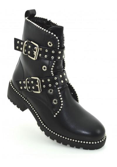 più foto f68bf 0ff69 Tronchetti donna neri con borchie scarpe donna stivali stivaletti con fibbie