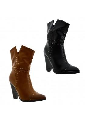 Tronchetti donna scarpe a punta stivaletti con tacco e borchie stivali corti zip