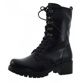Anfibi donna scarponcini stivali alti militari neri stivaletti con tacco e lacc