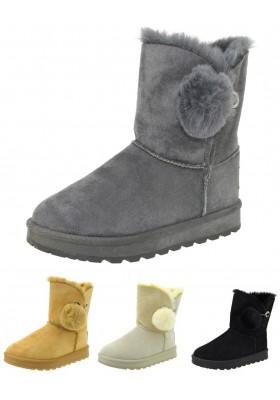 Stivaletti eschimesi stivali donna con pelliccia scarponcini caldi scarpe neve
