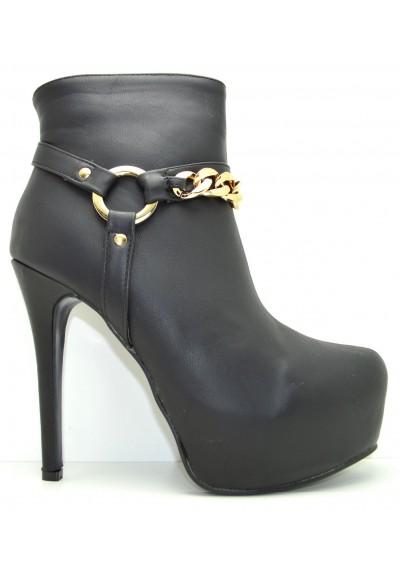 negozio online 77d3b 58b03 Stivaletti alla caviglia stivali donna corti tronchetti alti neri con catena