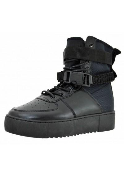 Anfibi donna scarponcini stivali militari neri con zeppa lacci stivaletti fibbie