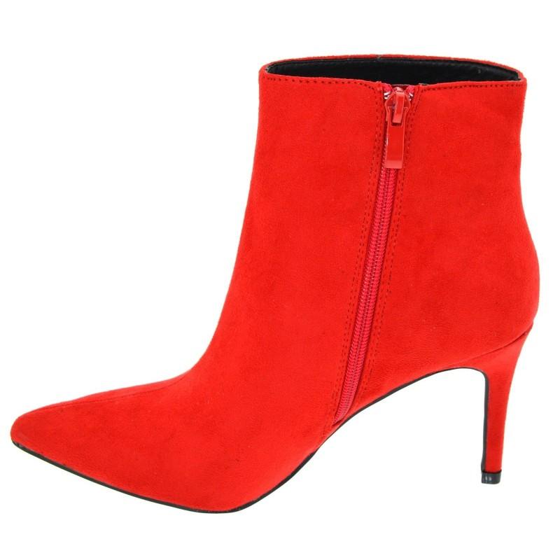 a basso prezzo 19986 209da Tronchetti donna neri a punta scamosciati stivaletti rossi ...