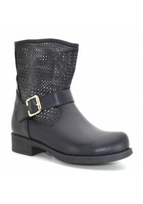 Tronchetti donna primaverili scarpe estive stivaletti neri con borchie traforati