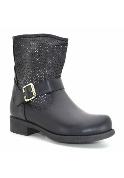 the latest 02e39 987ae Tronchetti donna primaverili scarpe estive stivaletti neri con borchie  traforati