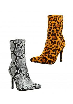 Scarpe donna pitonate stivaletti leopardati Tronchetti a punta con tacco spillo