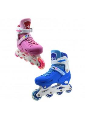 Pattini in linea regolabili per bambini e ragazzi rosa blu Rollerblade sport
