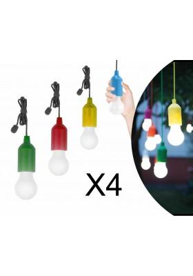 SET 4 / 8 LAMPADINE COLORATE A LED SENZA FILI ILLUMINAZIONE A BATTERIA NOVITA'