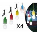 SET 4 LAMPADINE COLORATE A LED SENZA FILI ILLUMINAZIONE A BATTERIA NOVITA'