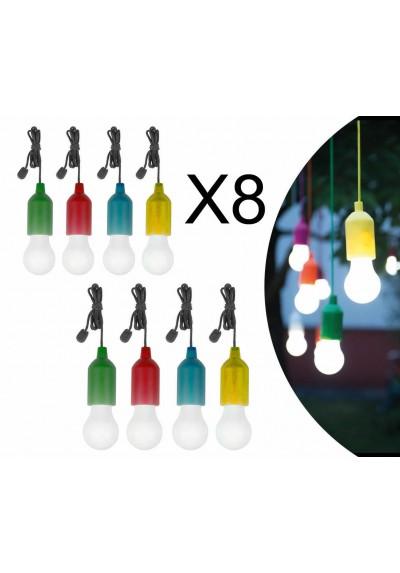 SET 8 LAMPADINE COLORATE A LED SENZA FILI ILLUMINAZIONE A BATTERIA NOVITA'