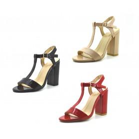 Scarpe sandali donna con tacco alto decolte lucide decolletè estive tre colori