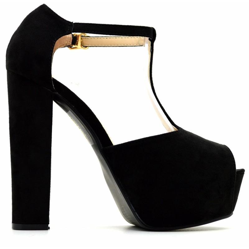 Scarpe donna sandali spuntati con tacco alto e plateau con fibbia  scamosciati 983762ec91f