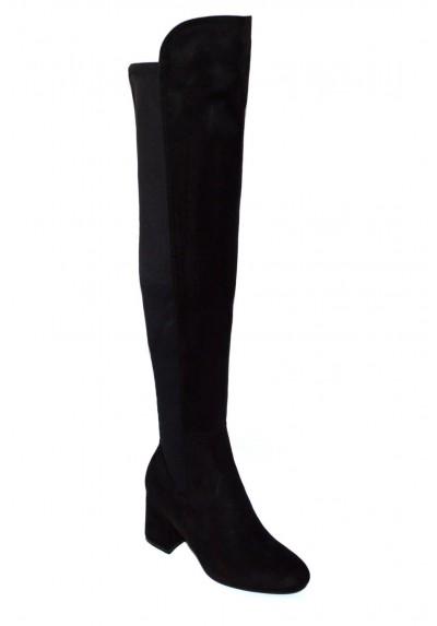 Stivali donna elasticizzati a punta stivaletti neri sopra
