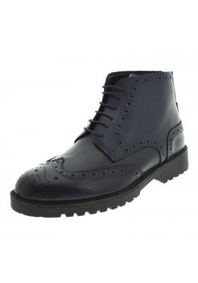 Scarpe uomo vera pelle francesine stringate scarpe alte inglesine in cuoio blu