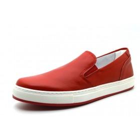 Mocassini uomo vera pelle con elastici di colore rosso scarpe da uomo in cuoio