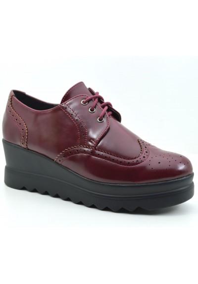 Scarpe donna mocassini con la zeppa stringati scarpe platform con inglesine red