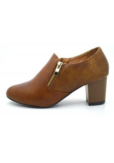 Scarpe donna tacco basso tronchetti comodi bassi decolletè zip scapa classica