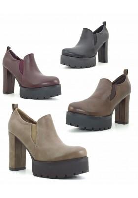 Scarpe donna con tacco alto tronchetti con plateau stivaletti con la zeppa boots