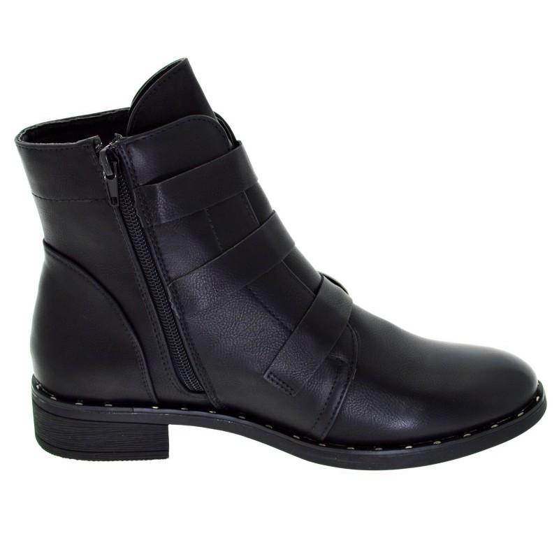 nuovo concetto 90a46 7c2e4 Stivaletto nero donna basso tronchetti con fibbie scarpe ...