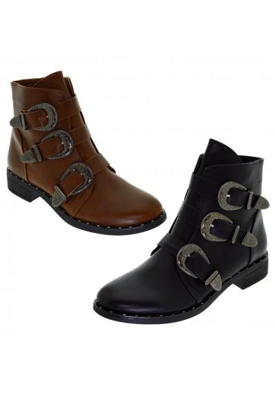 Stivaletto nero donna basso tronchetti con fibbie scarpe Boot basse borchiate