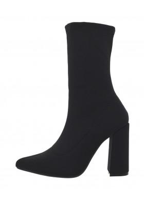 Tronchetti donna in tessuto elasticizzato scarpe a punta stivaletti neri tacco