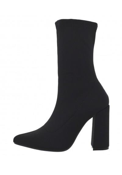 qualità incredibile super economico rispetto a disponibilità nel Regno Unito Tronchetti donna in tessuto elasticizzato scarpe a punta stivaletti neri  tacco