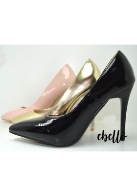 Scarpe decolletè a punta con tacco alto a spillo decollete cipria oro e nere