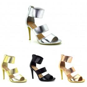 Scarpe Donna Sandali con tacco alto a spillo decoltè estive colore metallico