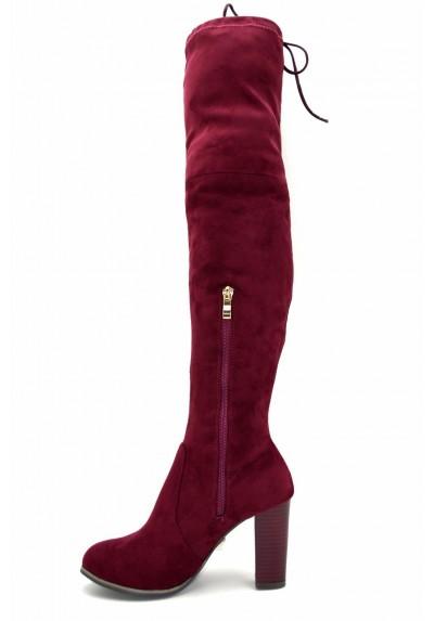 Stivali alti donna sopra il ginocchio stivaletti scamosciati scarpe tacco alto