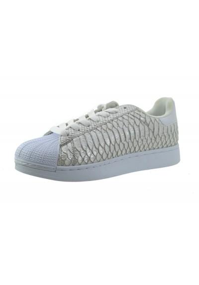 Scarpe ginnastica bianche sneakers donna sportive basse pitonate colore silver