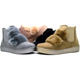 Sneakers donna con ecopelliccia scarpe donna scamosciate stivaletti con elastici