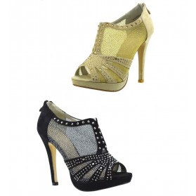 Tronchetti donna spuntati estivi scarpe aperte tacco a spillo trasparenti strass