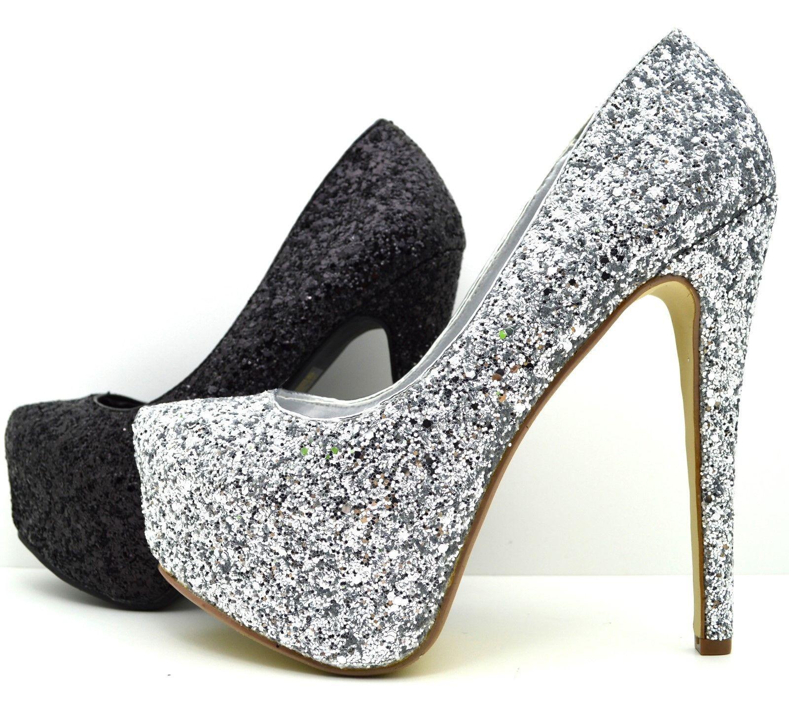 Scarpe donna Decolletè con glitter tacco alto zeppe con plateau alte con  strass - ebello.it dcc9c9484d5