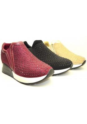 scarpe donna sneakers sportive slip on strass tempo libero slippers glitter