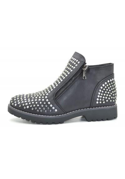 Stivaletti donna con strass boot tronchetti stivali con perline con due zip