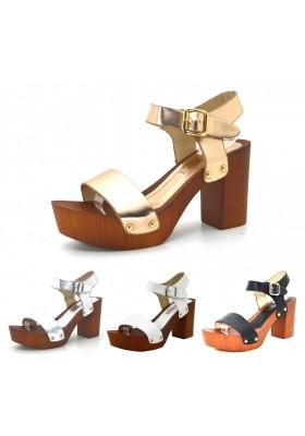 Sandali donna zoccoli mare con tacco e plateau effetto legno scarpe estive